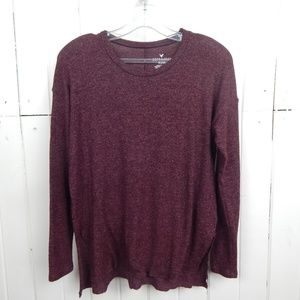American Eagle maroon soft and sexy plush sweater